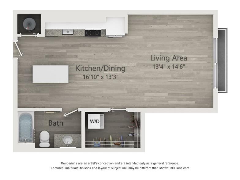 Novel NoDa floor plan studio S2